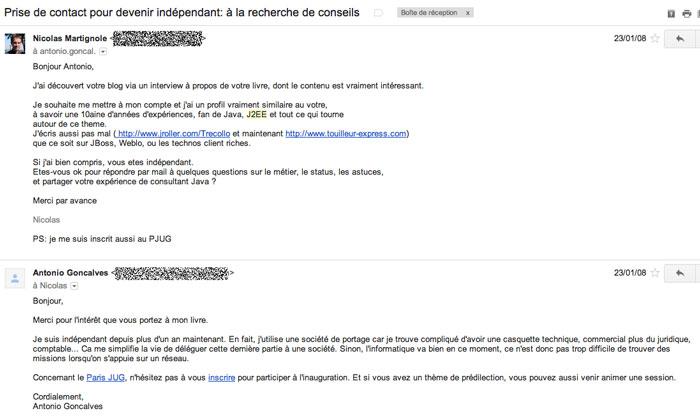 Premier email envoyé à Antonio
