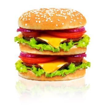 Hamburger isolated on white background.